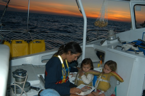 Bedtime stories at sunset offshore
