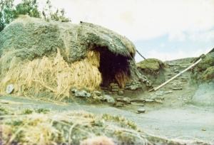 A mud hut.