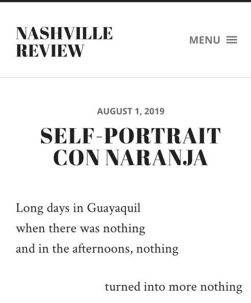"Screenshot of ""Self Portrait Con Naranja"" on the Nashville Review."