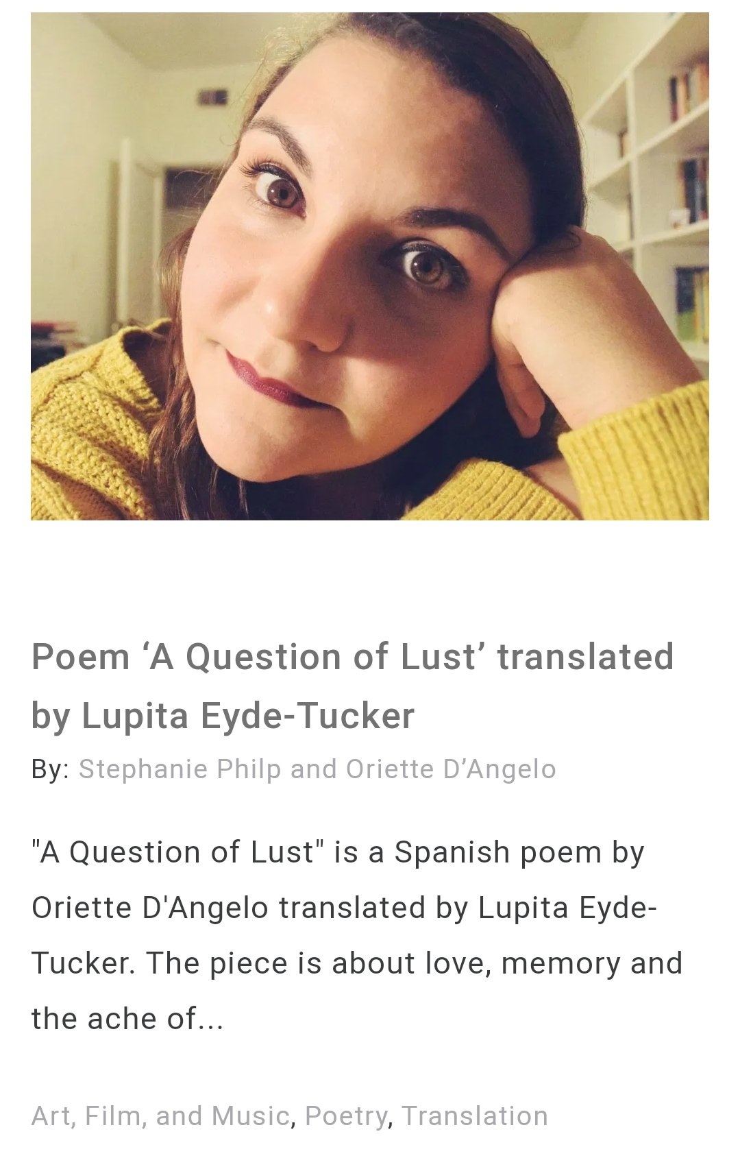 Screenshot of Oriette D'Angelo's poem on the Columbia Journal website